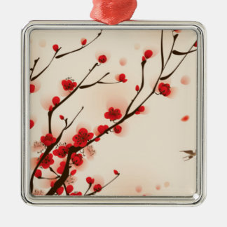 Asian Style Painting, Plum Blossom in Spring Metal Ornament
