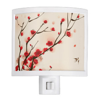 Asian Style Painting, Plum Blossom in Spring Night Lights