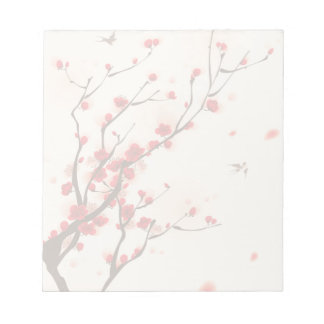 Asian Style Painting, Plum Blossom in Spring Notepads