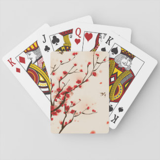 Asian Style Painting, Plum Blossom in Spring Playing Cards
