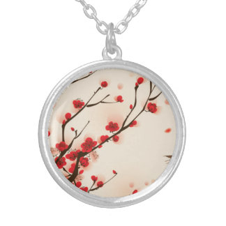 Asian Style Painting, Plum Blossom in Spring Silver Plated Necklace