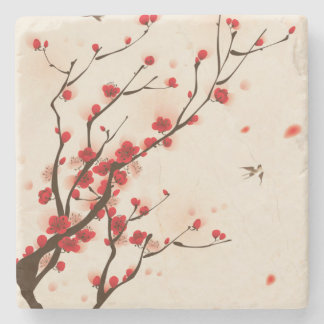 Asian Style Painting, Plum Blossom in Spring Stone Coaster
