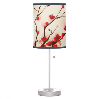 Asian Style Painting, Plum Blossom in Spring Table Lamp