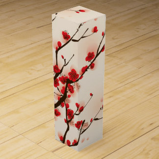 Asian Style Painting, Plum Blossom in Spring Wine Box