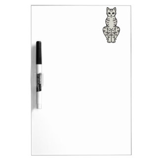Asian Tabby Cat Cartoon Dry Erase Whiteboard