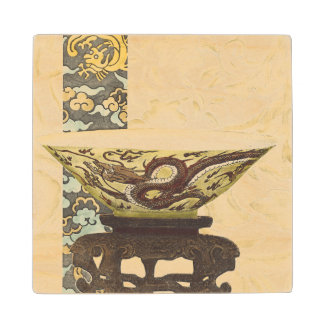 Asian Tapestry with Bowl and Dragon Design Maple Wood Coaster