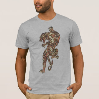 Asian Tiger Tattoo gray semi fitted mens tshirt