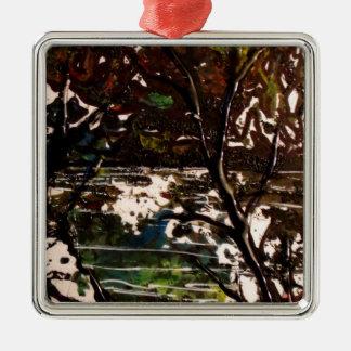 asian tree Silver-Colored square ornament