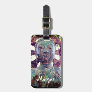 Asian turquoise blue face statue photo custom name luggage tag