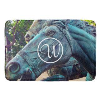 Asian turquoise metal horse statue custom monogram bath mat