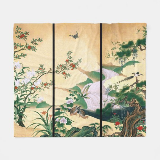 Asian Waterfall Wisteria Roses Bird Fleece Blanket