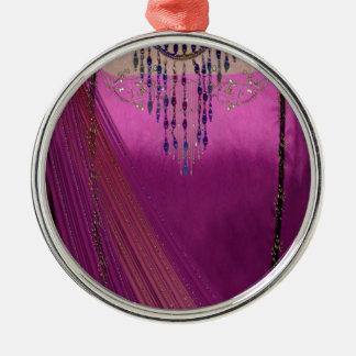 Asian Wedding Sari Silver-Colored Round Ornament