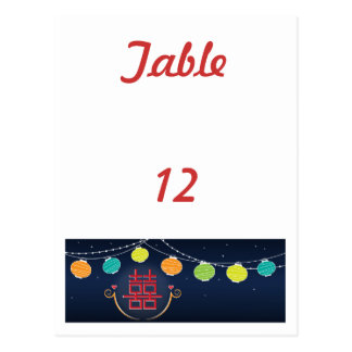 Asian Wedding Table Number Card Postcard