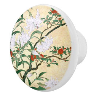 Asian White Lily Red Roses Floral Knob