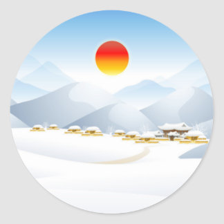 Asian Winter Sun Stickers