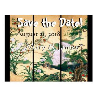 Asian Wisteria Dove Birds Save the Date Postcard