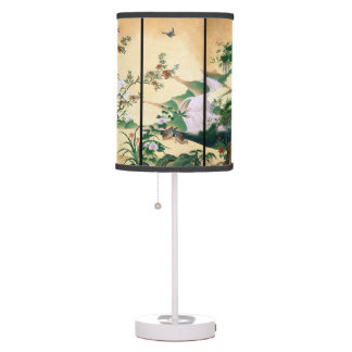 Asian Wisteria Flower Dove Waterfall Table Lamp