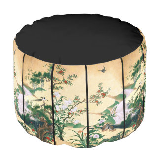 Asian Wisteria Flowers Doves Waterfall Pouf Pillow