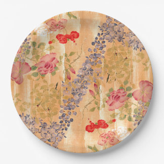 Asian Wisteria Rose Flowers Floral Paper Plates