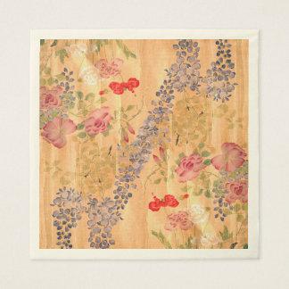 Asian Wisteria Rose Flowers Paper Napkins