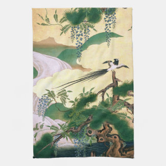 Asian Wisteria Waterfall Bird Flower Kitchen Towel