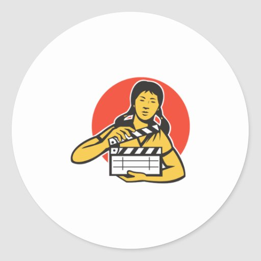 Asian woman girl with movie clapboard stickers
