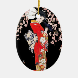 Asian Woman with Cherry Blossom Night Ceramic Oval Ornament