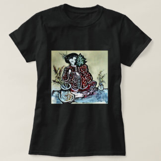 """Asian Woman with Leaf "" T-Shirt"
