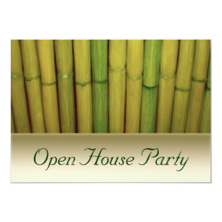 Asian Zen Green Bamboo Botanical Open House Party Card