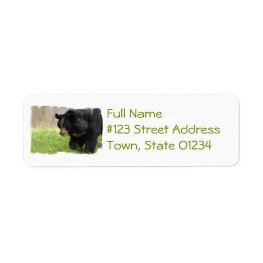 Asiatic Black Bear Mailing Label Return Address Label