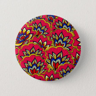 Asiatic red vibrant floral pattern 2 inch round button
