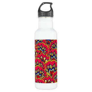 Asiatic red vibrant floral pattern 710 ml water bottle