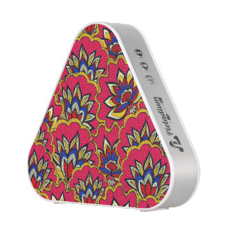 Asiatic red vibrant floral pattern blueooth speaker