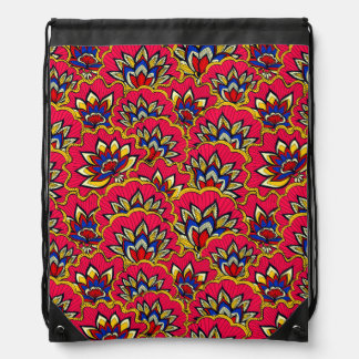Asiatic red vibrant floral pattern drawstring bag