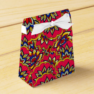 Asiatic red vibrant floral pattern favor box