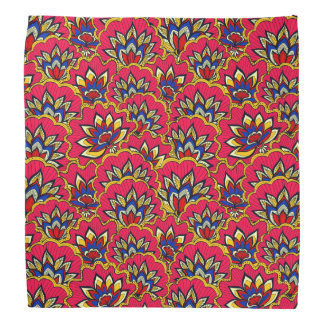 Asiatic red vibrant floral pattern head kerchiefs