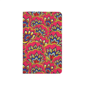 Asiatic red vibrant floral pattern journal