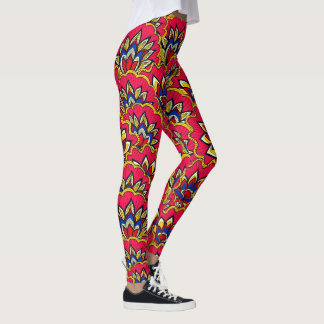Asiatic red vibrant floral pattern leggings