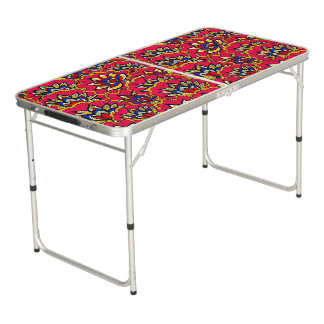 Asiatic red vibrant floral pattern pong table