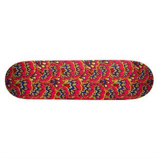 Asiatic red vibrant floral pattern skateboard decks