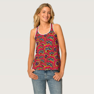 Asiatic red vibrant floral pattern tank top