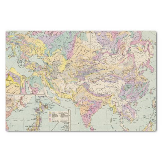 Asien u Europa - Atlas Map of Asia and Europe Tissue Paper