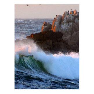 Asilomar Beach Waves Postcard