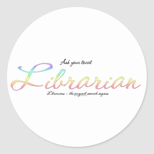 Ask a librarian classic round sticker