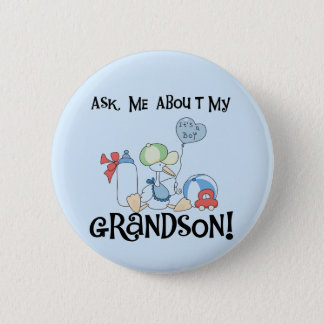 Ask About My Grandson Tshirts and Gifts 2 Inch Round Button