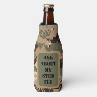 """Ask about my stud fee"" - Black with Camouflage Bottle Cooler"