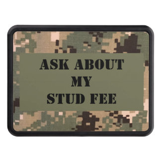 """""""Ask about my stud fee"""" - Black with Camouflage Tow Hitch Cover"""