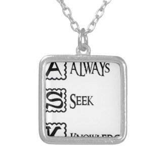 Ask, always seek knowledge silver plated necklace