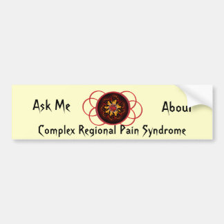 Ask Me About CRPS Red & Black Star Burst Scroll Bumper Sticker