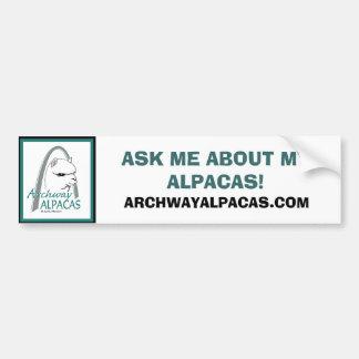 ASK ME ABOUT MY ALPACAS!, ARCHWAYALPACAS.COM BUMPER STICKER